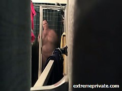 Spy footage of my BBW mum in the shower