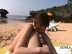 subtitle-japan-beach-titjob-rimjob-handjob-with-av-star
