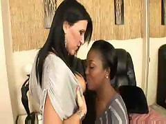 Aryana Starr and Kendra Secrets do a little black and white pussy play