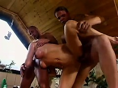 Mature blonde gets double penetration