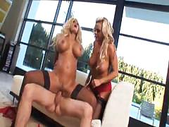 Shyla Stylez and Bree Olson share a hard cock and each other