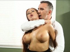 Office whore Madison Ivy cum swallows after hardcore sex