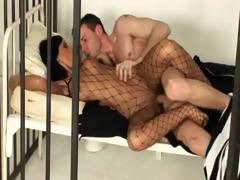 Black Angelika is behind bars but still gets a man to fuck