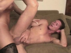 Horny stud getting fucked hard anally by a tranny babe