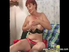 Cockstarved granny masturbating