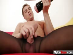 jack-is-jerking-off-his-cock-and-plays-with-balls-in-nylons