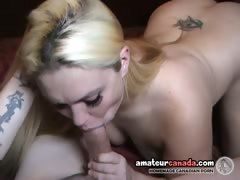 Chubby blonde geek sucks thick cock and rides it