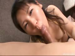 Emiri Takeuchi in cuffs has her trimmed pussy licked and fucked
