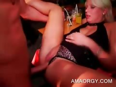 Blonde slut gets cunt nailed by lucky stripper